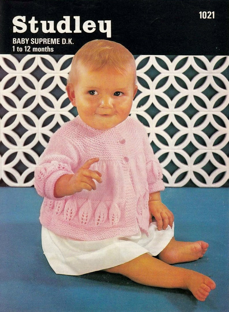 8 Ply Wool Knitting Patterns Ba Matinee Jacket Sweater In Dk 8 Ply Yarn Sizes 1 To 12 Months Studley 1021 Pdf Of Vintage Knitting Patterns
