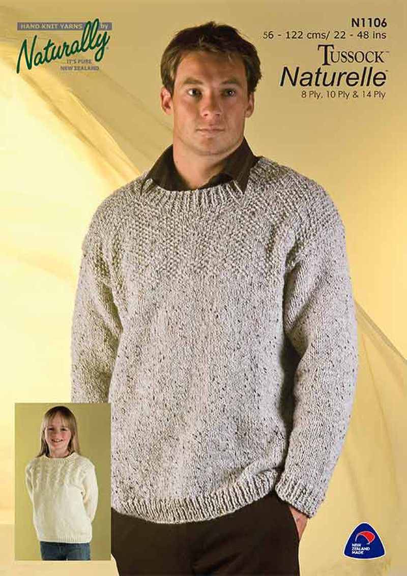 8 Ply Wool Knitting Patterns Naturally N1106 Sweater In 8ply 10ply 14ply
