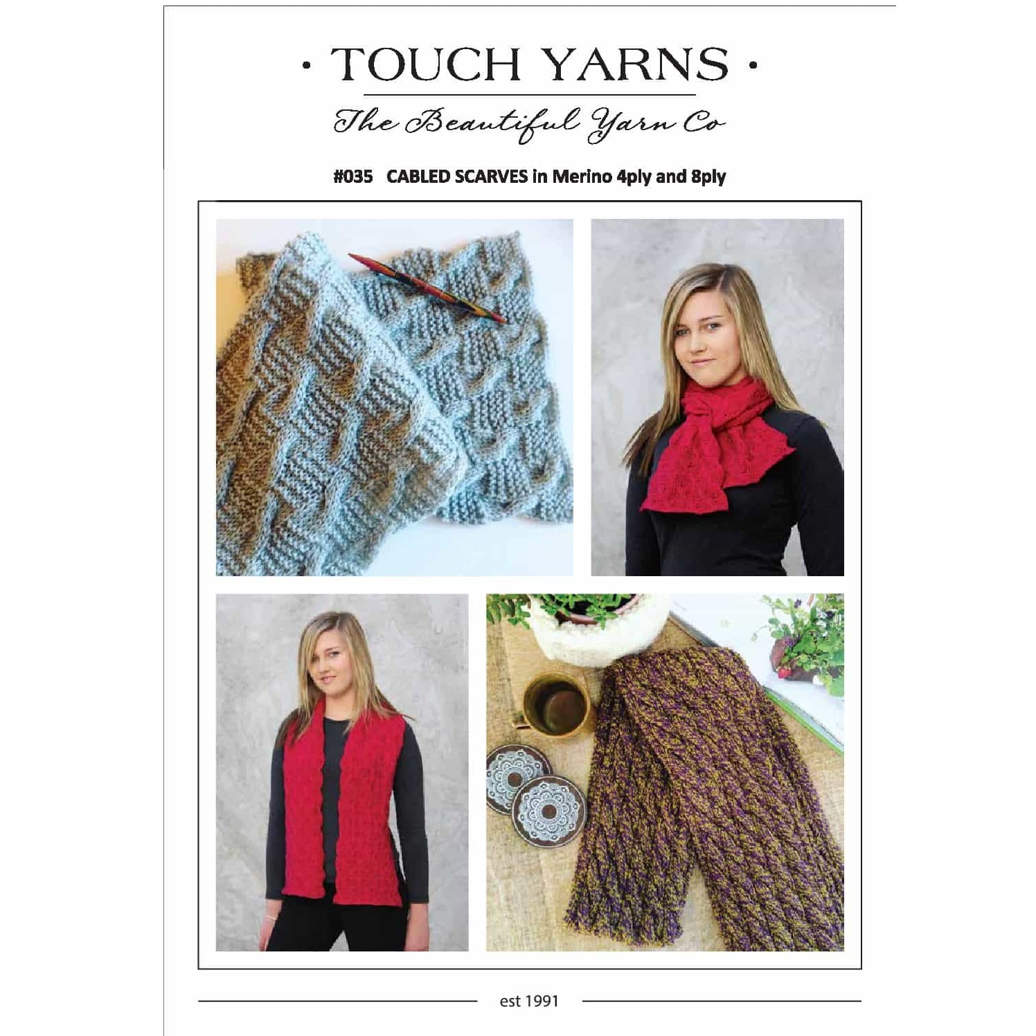8 Ply Wool Knitting Patterns Touch 035 Cabled Scarves Knitting Pattern The Ribbon Rose