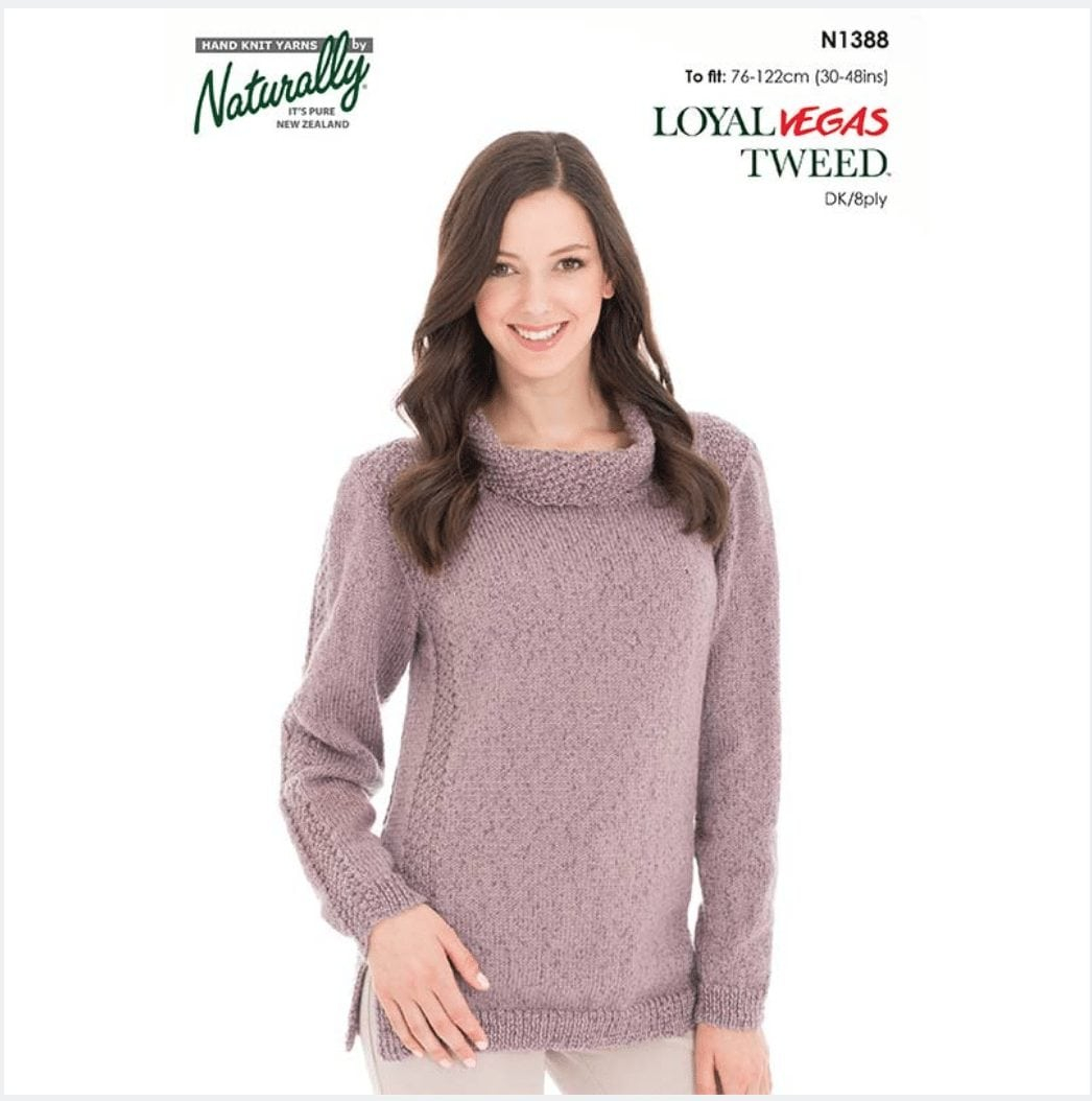 8 Ply Wool Knitting Patterns Vegas Tweed Outlined Sweater N1388 Knitting Pattern Fast Shipping