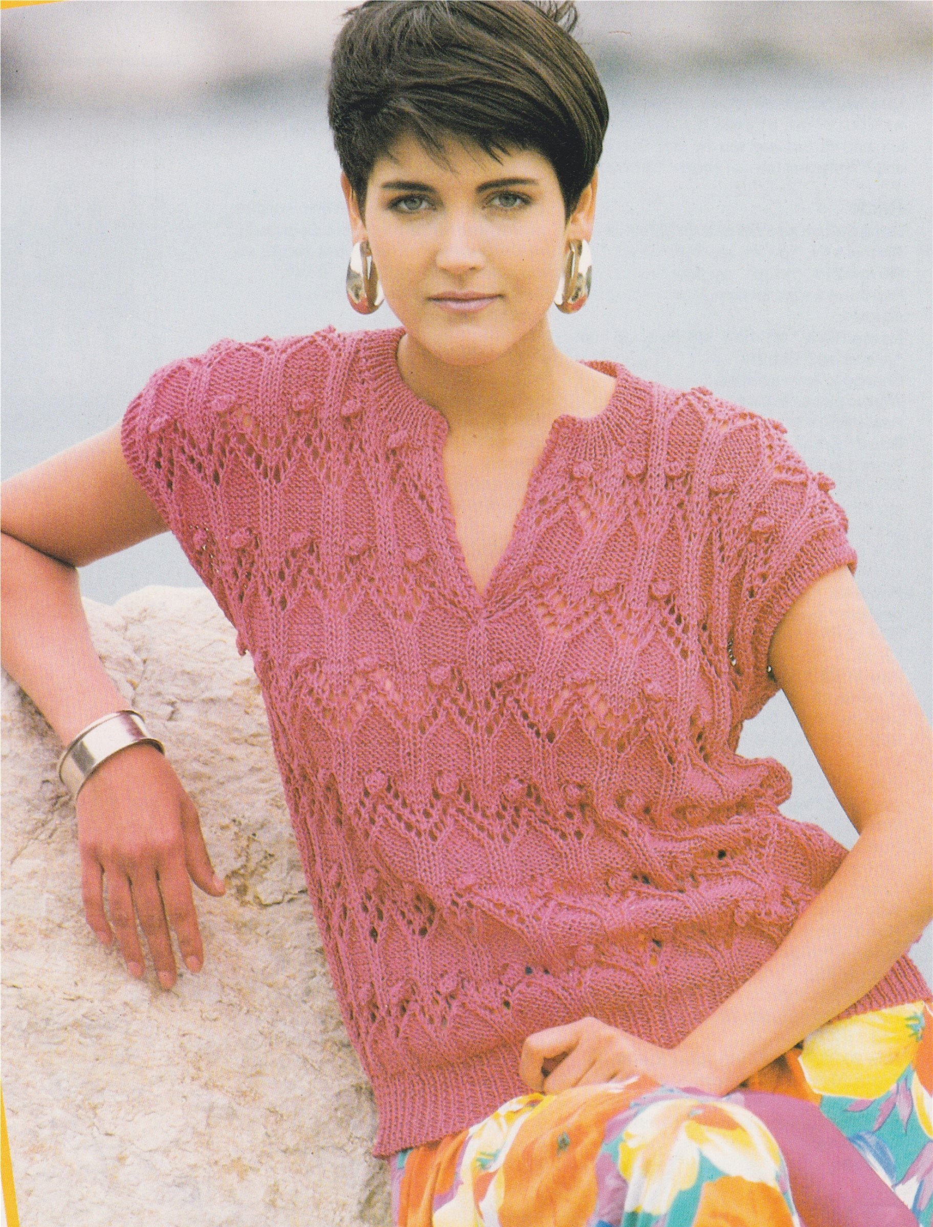 8 Ply Wool Knitting Patterns Womens Lacy Sweater Top Knitting Pattern Pdf Ladies 30 32 And