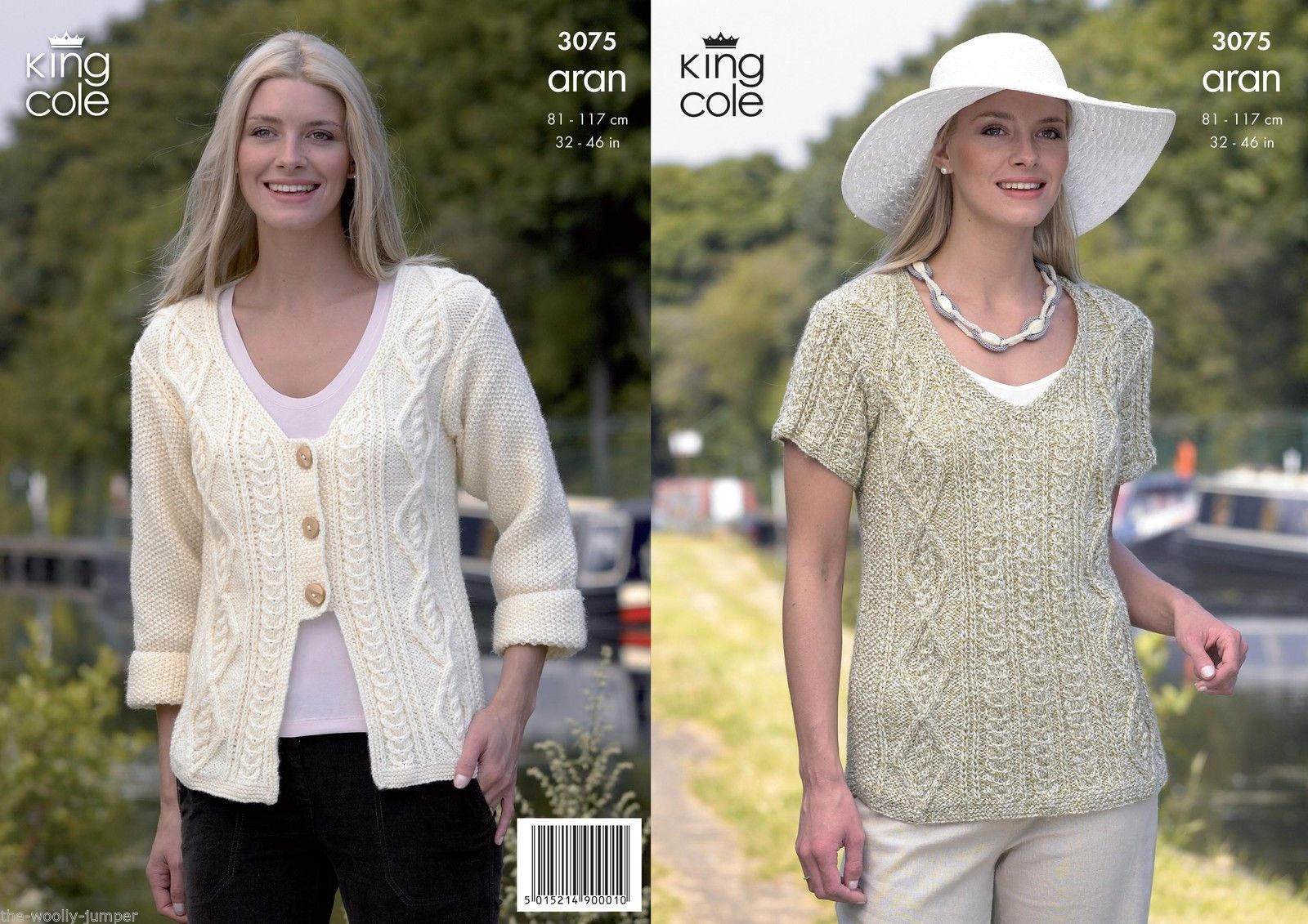 Aran Jumper Knitting Patterns 3075 King Cole Fashion Aran Sweater Cardigan Jacket Knitting Pattern To Fit Chest 32 To 46