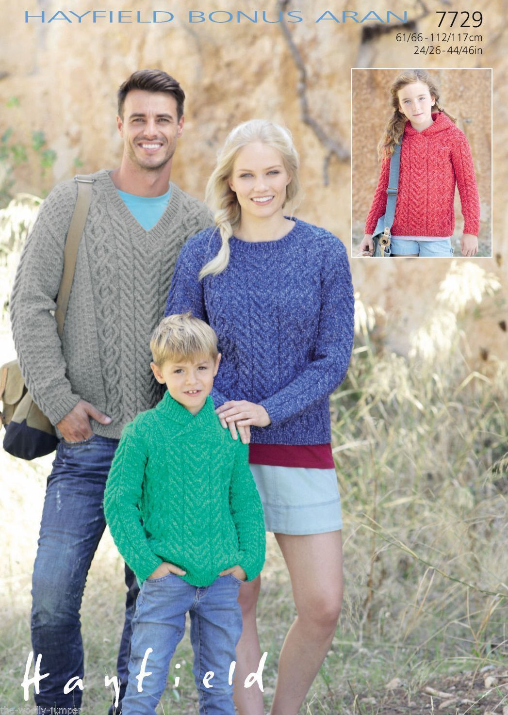 Aran Jumper Knitting Patterns 7729 Hayfield Bonus Aran Sweater Knitting Pattern To Fit Chest 24 To 46