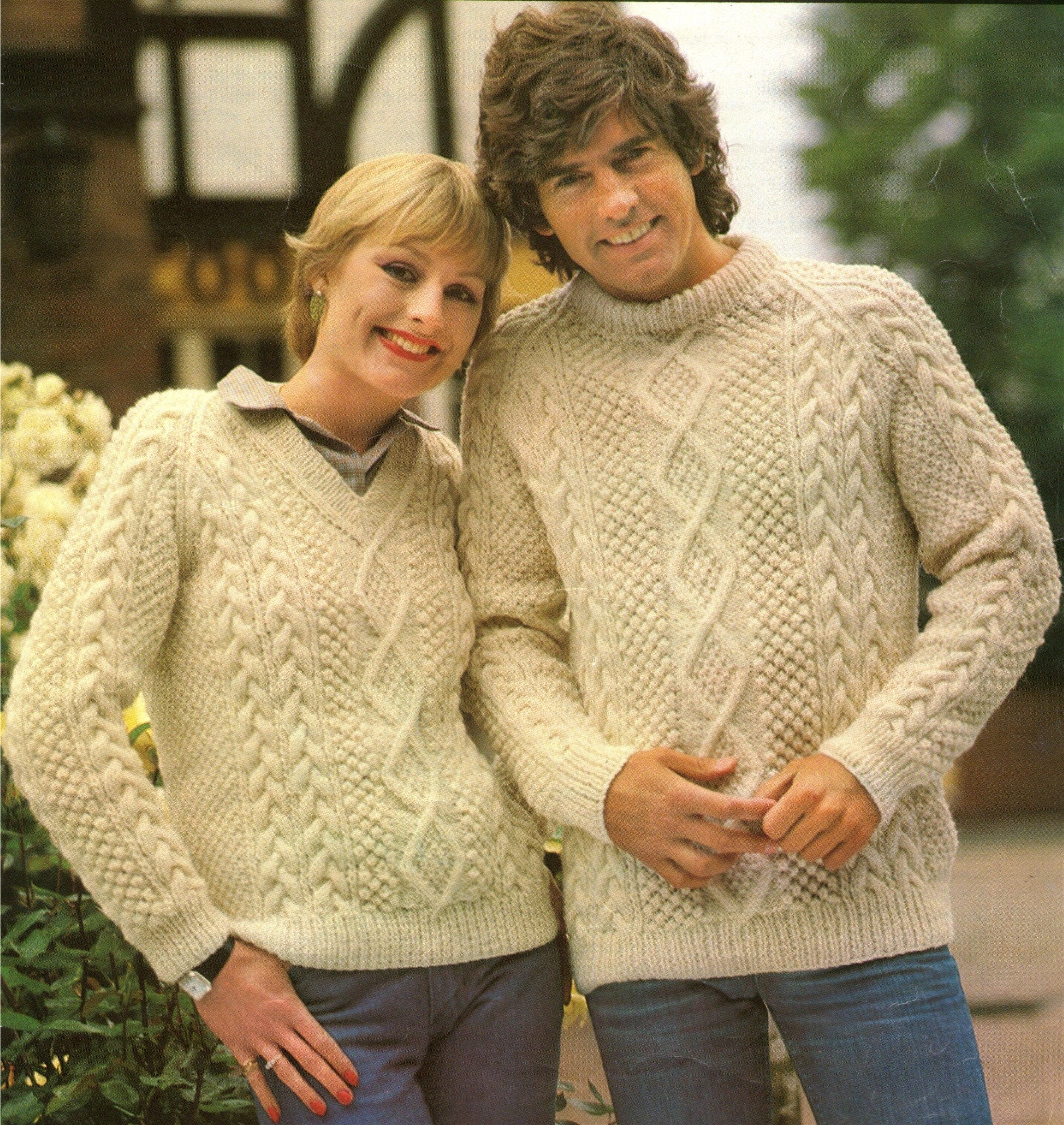 Aran Jumper Knitting Patterns Aran Round Neck Or V Neck Sweater Knitting Pattern Pdf Womens Or