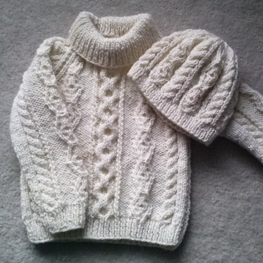 Aran Jumper Knitting Patterns Donal Childs Aran Sweater And Hat Knitting Pattern