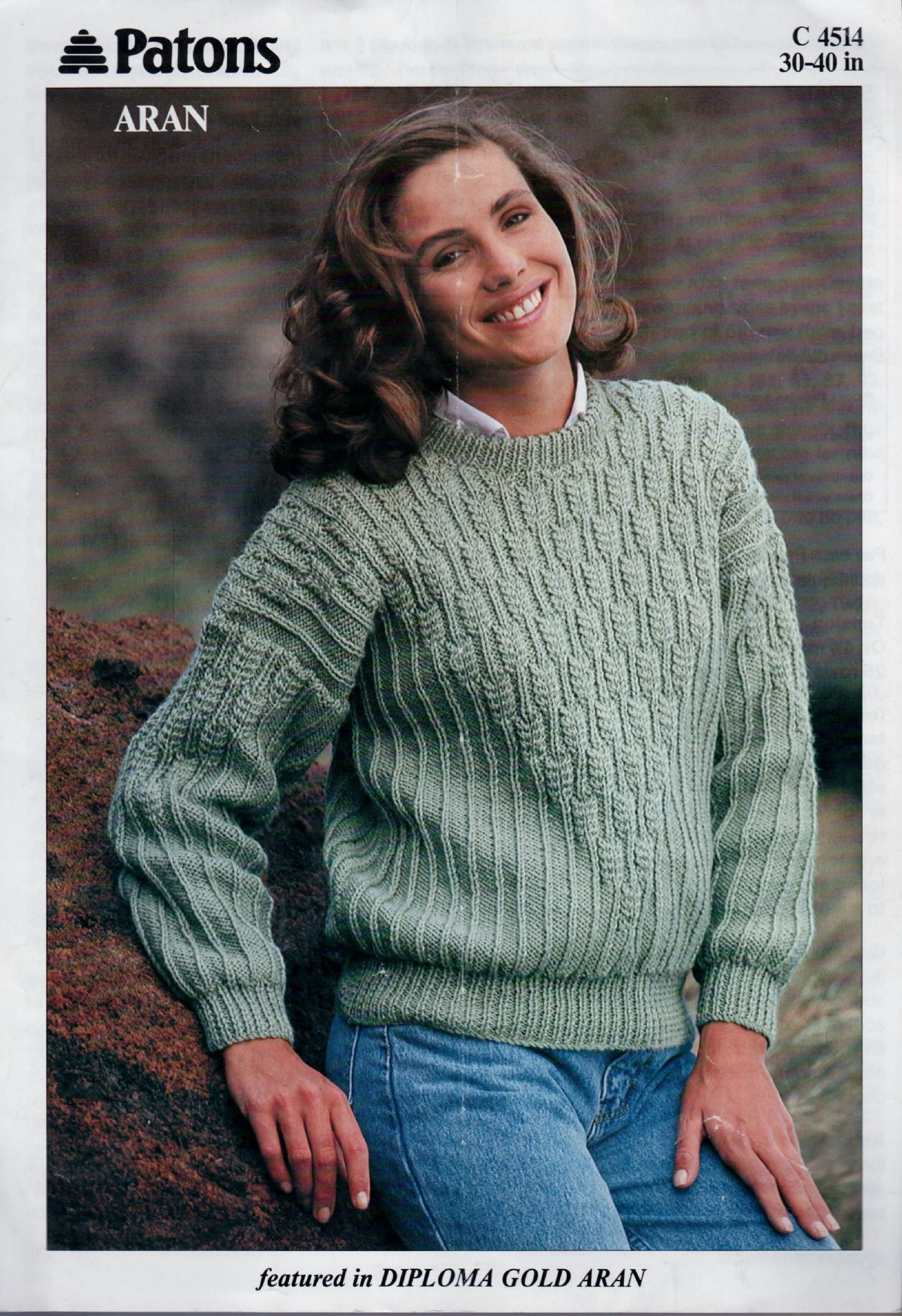 Aran Jumper Knitting Patterns Instant Pdf Digital Download Vintage Knitting Pattern Patons C4515 Ladies Aran Sweater Jumper 30 40
