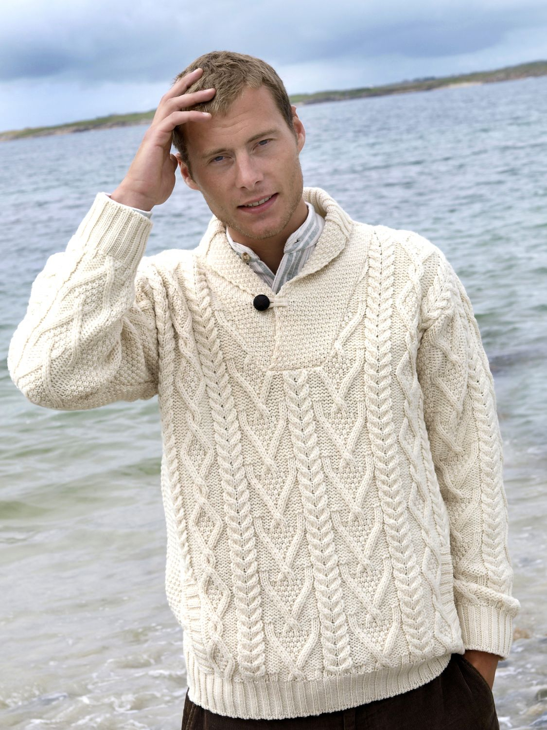 Aran Jumper Knitting Patterns Intricately Patterned Shawl Neck Aran Sweater
