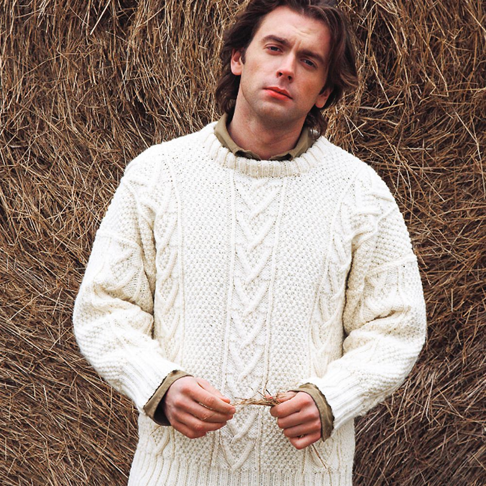 Aran Jumper Knitting Patterns Knit A Real Mans Classic Free Aran Jumper Knitting Pattern
