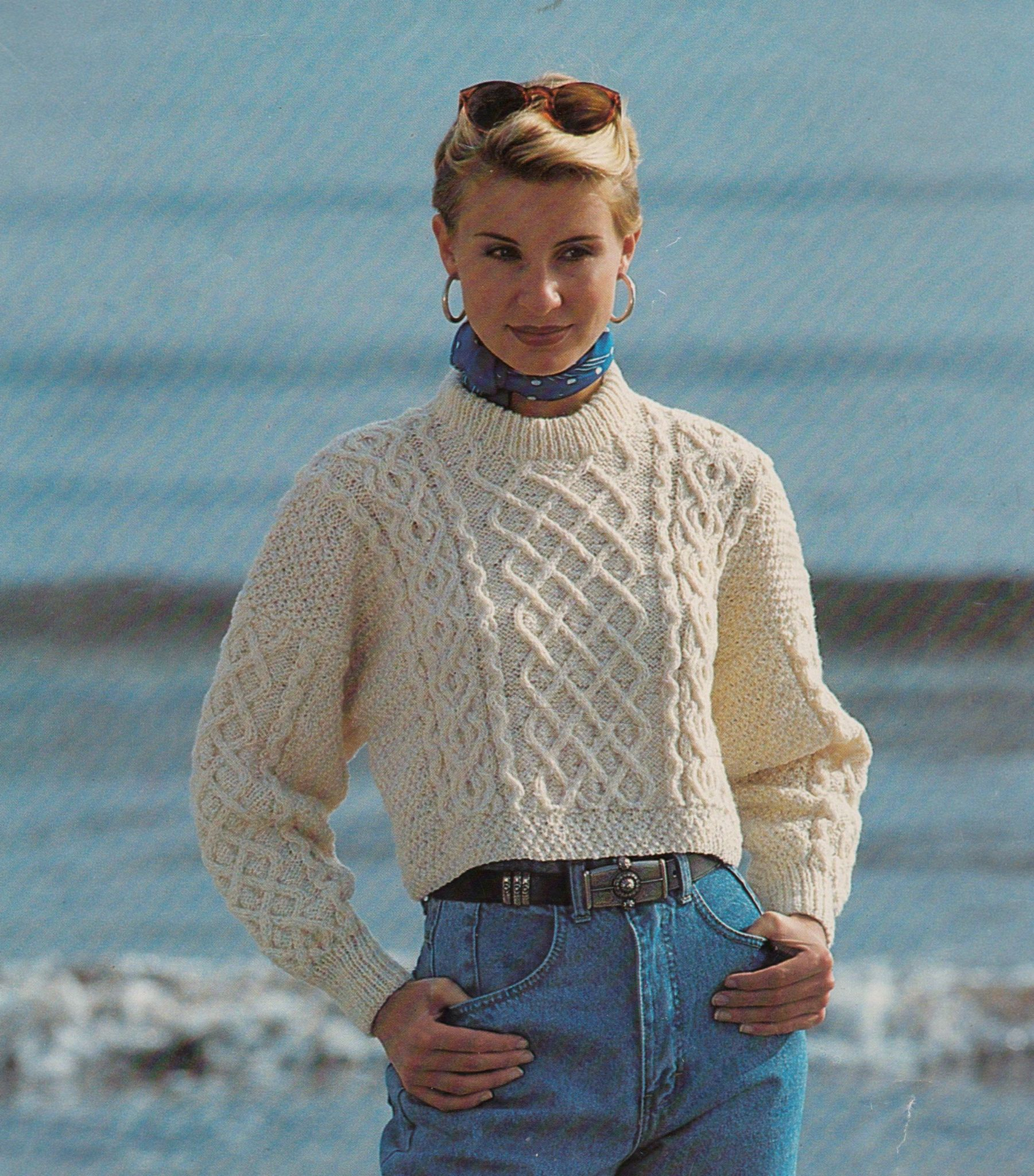 Aran Jumper Knitting Patterns Original Vintage Knitting Pattern Ladies Shorter Aran Cable Sweater Jumper Bust 32 40