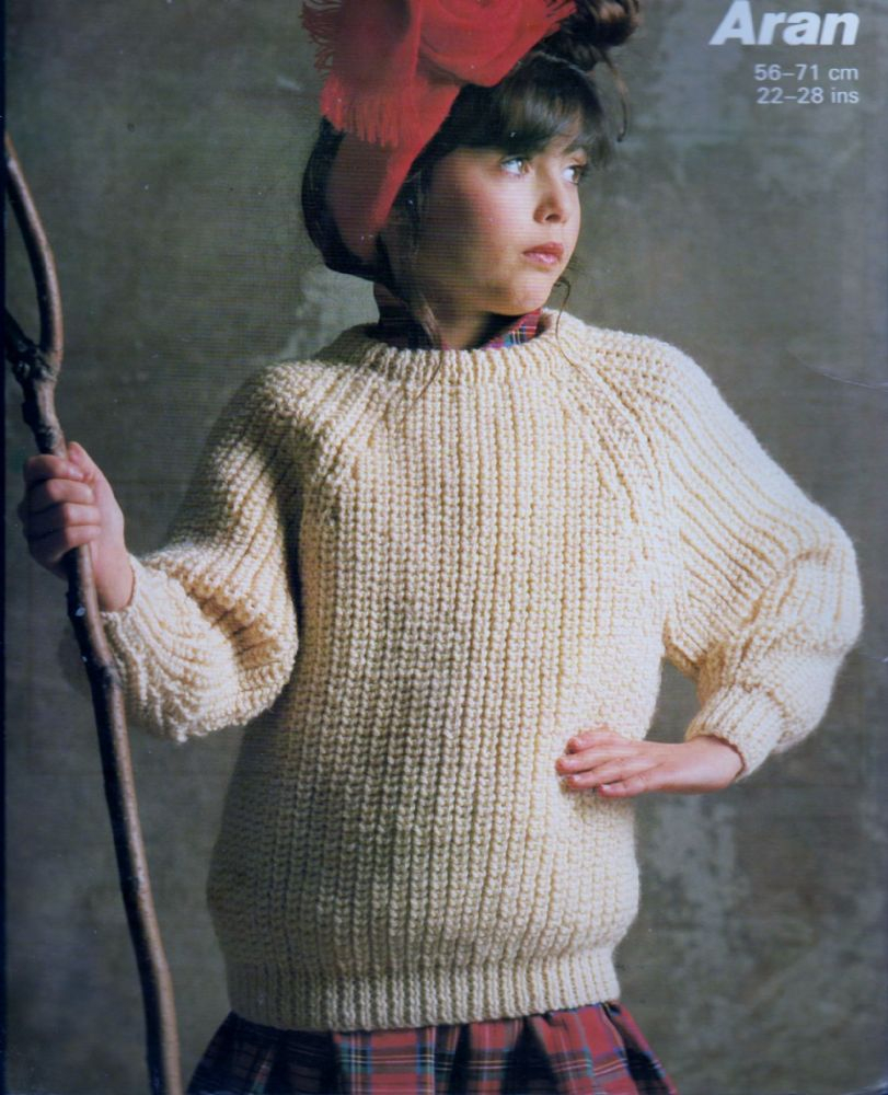 Aran Jumper Knitting Patterns Original Vintage Knitting Pattern To Make A Childs Easy Aran Sweater Jumper Pullover Chest 22 26
