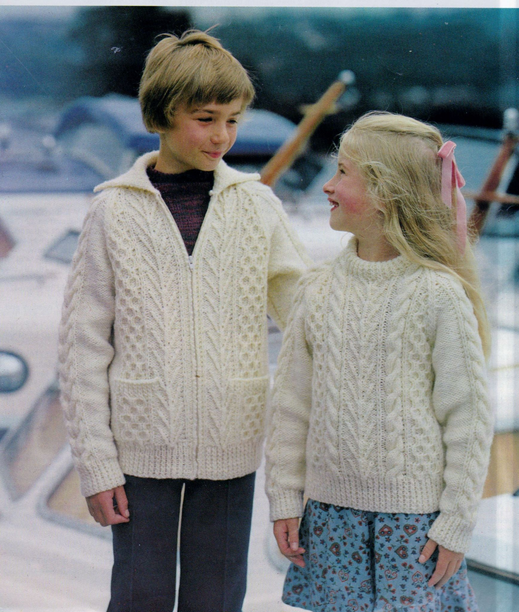 Aran Jumper Knitting Patterns Original Vintage Knitting Pattern Toddler Childs Aran Sweater Zip Up Jacket Chest 22 34