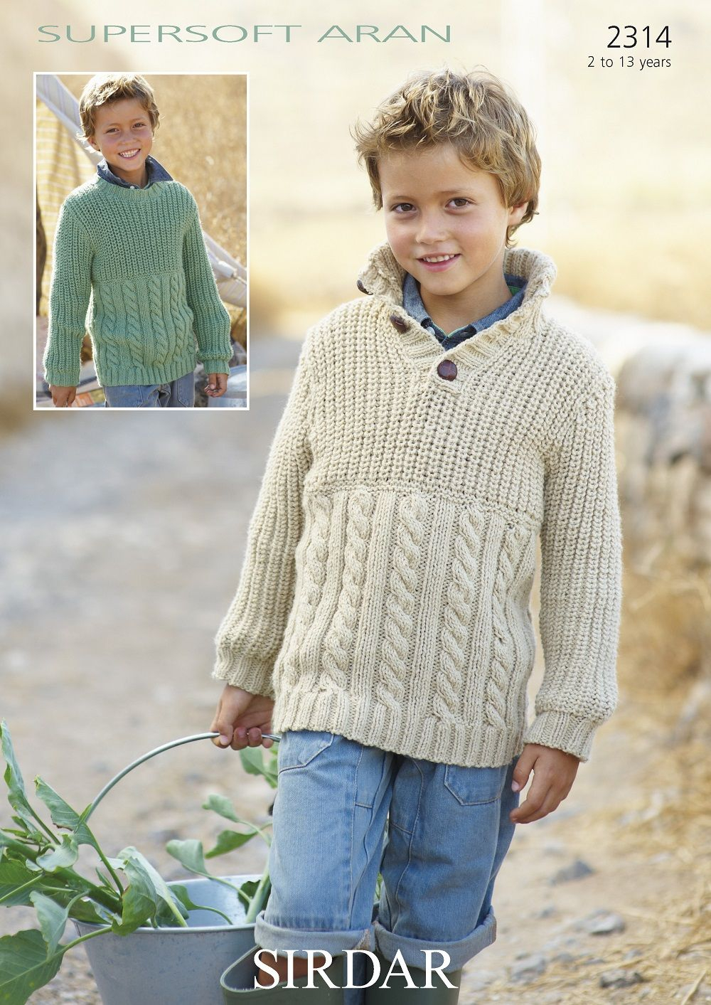 Aran Jumper Knitting Patterns Sirdar Boys Sweaters Knitting Pattern In Supersoft Aran 2314p Pdf