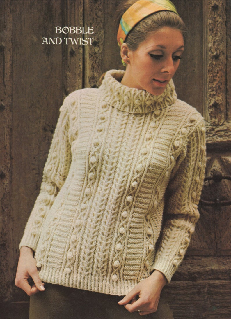 Aran Jumper Knitting Patterns Womens Aran Sweater Knitting Pattern Pdf Ladies 34 36 37 39 And 40 42 Inch Chest Bainin Yarn Vintage Knitting Patterns For Women