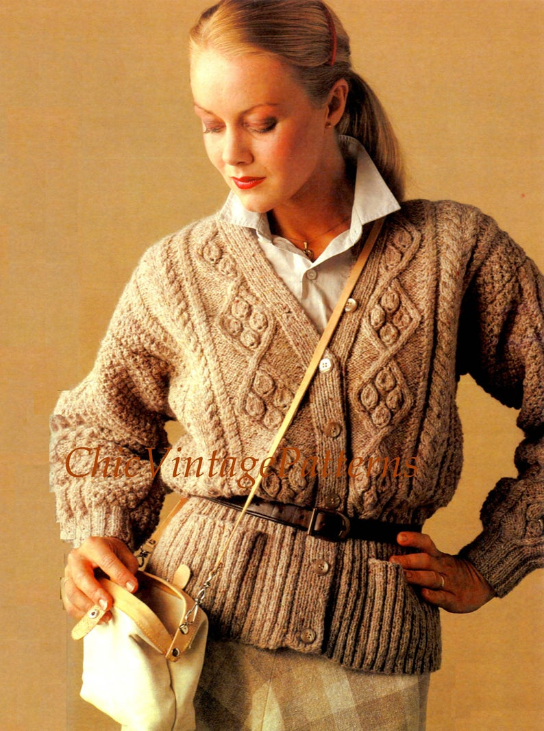 Aran Knit Cardigan Pattern Knitted Aran Cardigan Pattern Ladies Jacket Stylish Warm And Cosy Long Line Knit Instant Download Wear Belted Or Unbelted