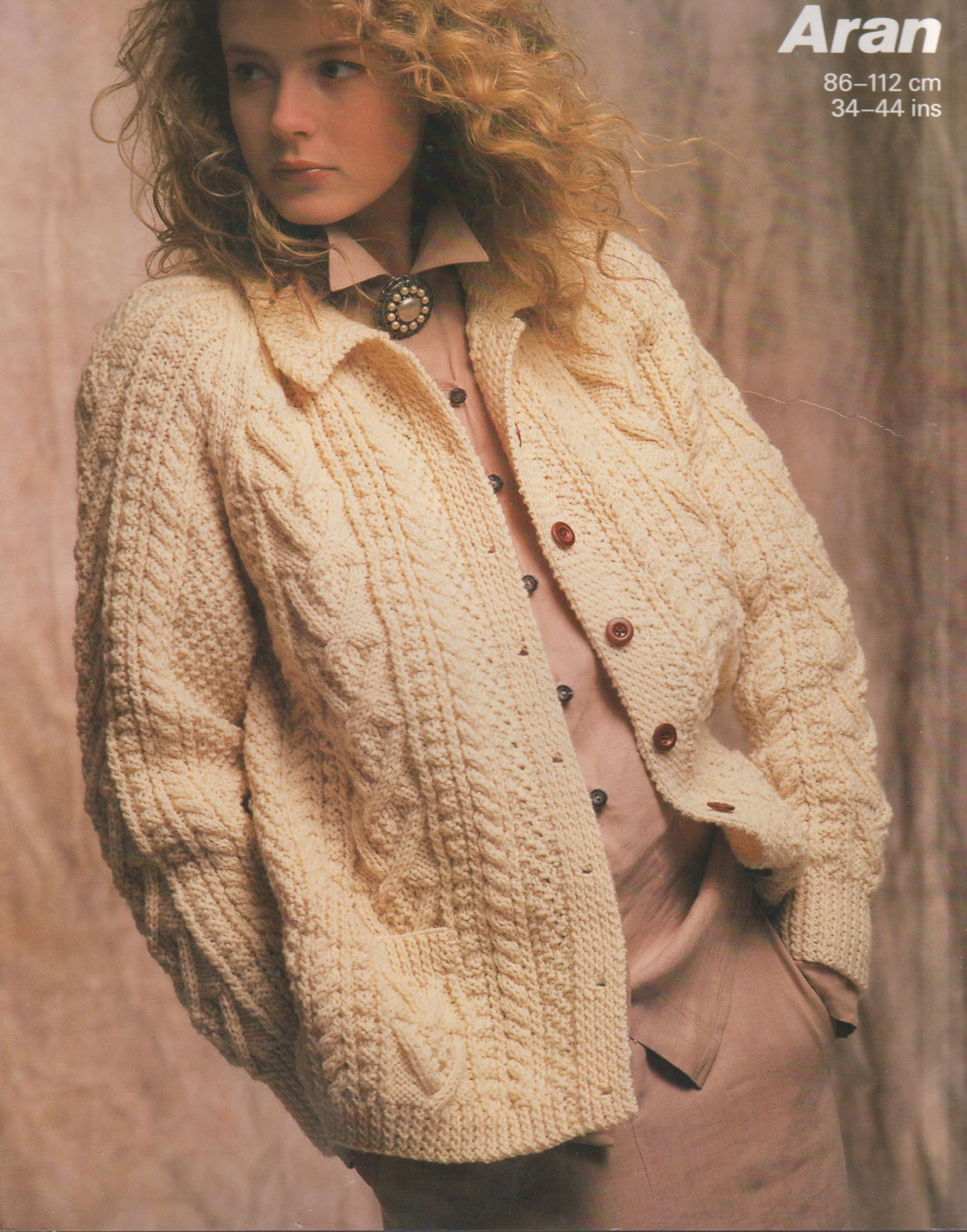 Aran Knit Cardigan Pattern Pdf Vintage Knitting Pattern Ladies Aran Cable Cardigan Jacket Bust 34 44