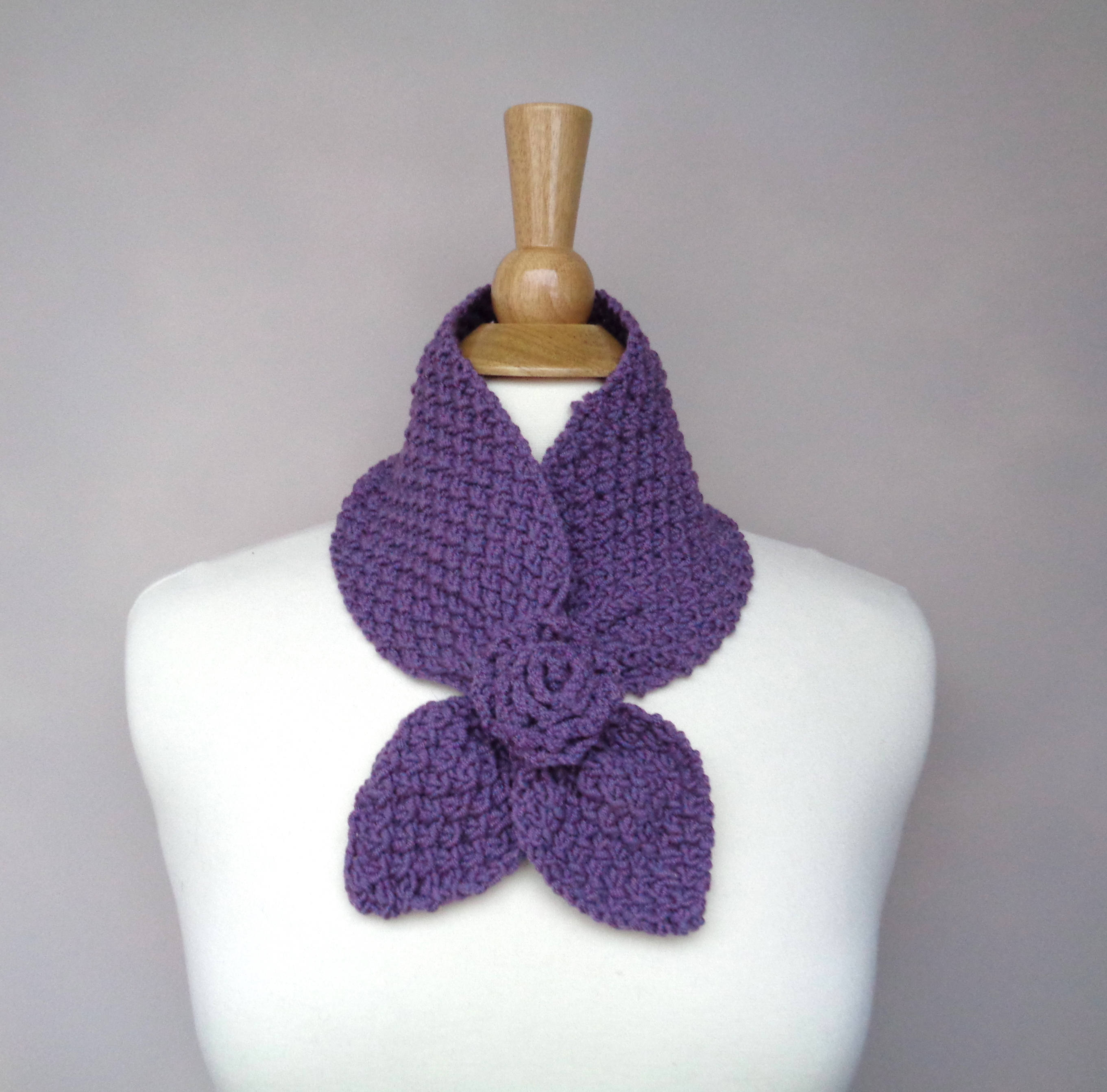 Ascot Scarf Knitting Pattern Ascot Neck Scarf With Rose Flower Pull Through Keyhole Scarf Plum Purple