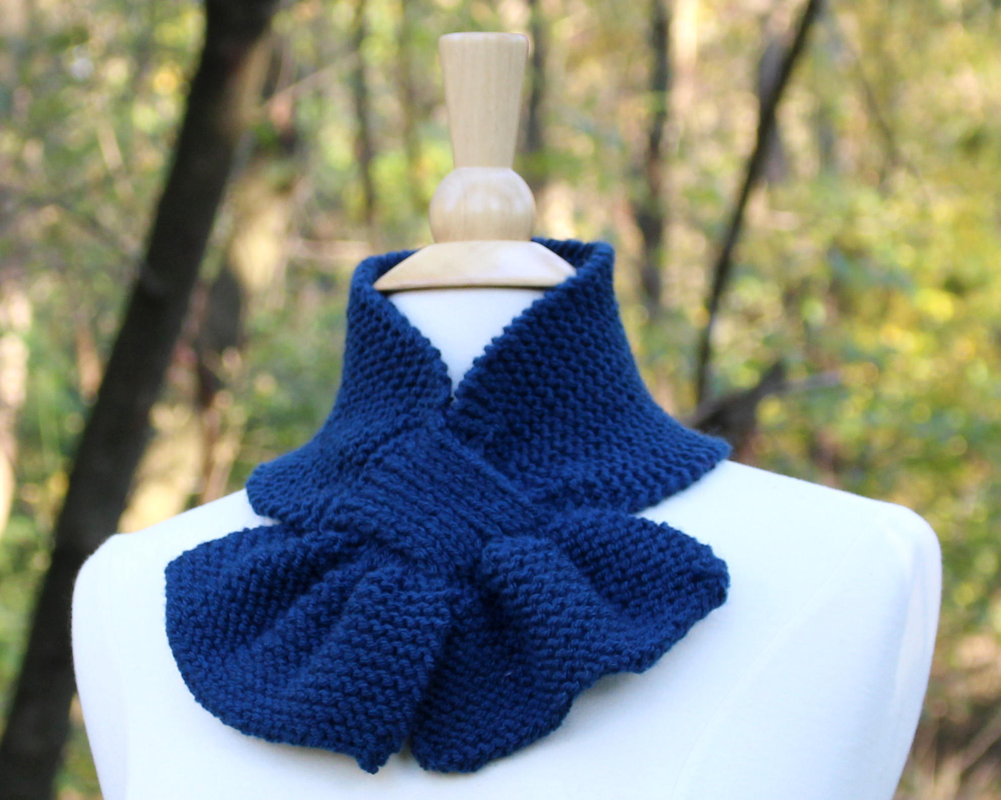 Ascot Scarf Knitting Pattern Midnight Blue Scarf Dark Blue Knit Scarf Knit Ascot Scarf Unique Scarf Pull Through Scarf Small Scarf Keyhole Scarf Gift For Her
