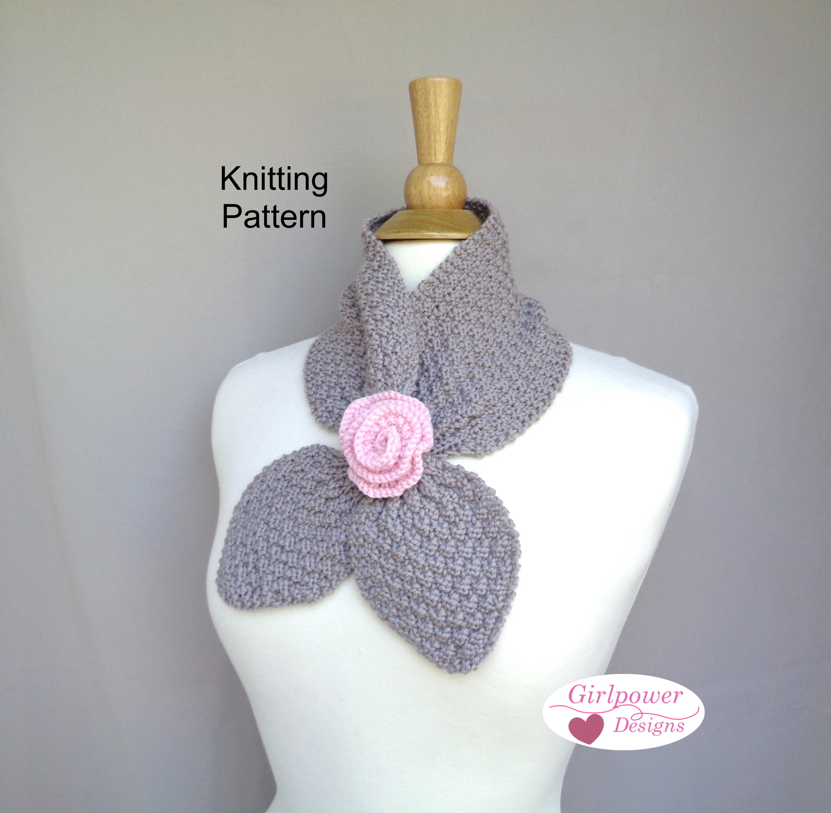 Ascot Scarf Knitting Pattern Rose Ascot Scarf Knitting Pattern Neck Warmer With Flower Accent Worsted Yarn Girls Women Bow Scarf