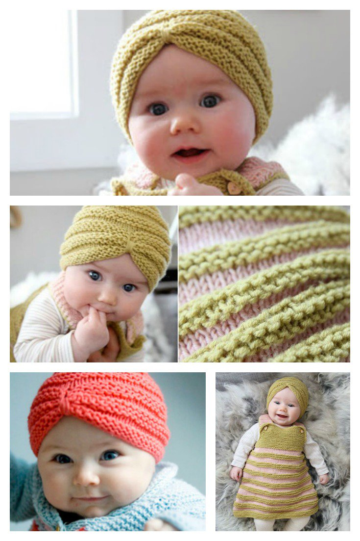 Baby Beanie Hat Knitting Pattern Knit Ba Turban Hat With Free Pattern