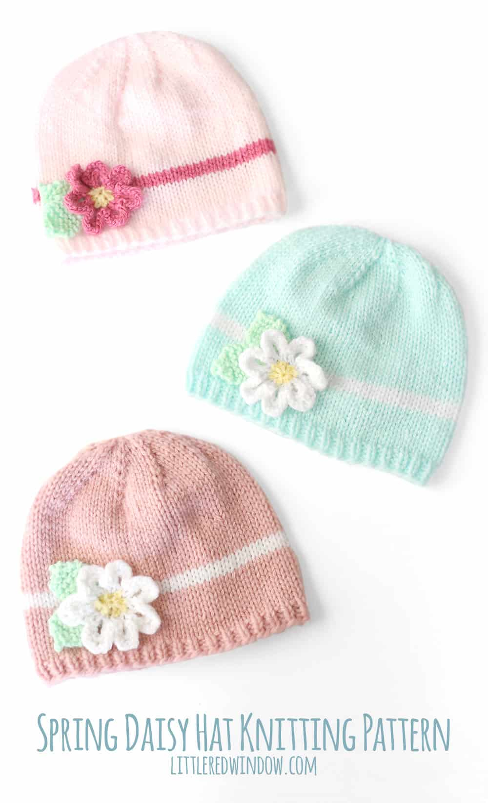 Baby Beanie Hat Knitting Pattern Spring Daisy Hat Knitting Pattern Little Red Window
