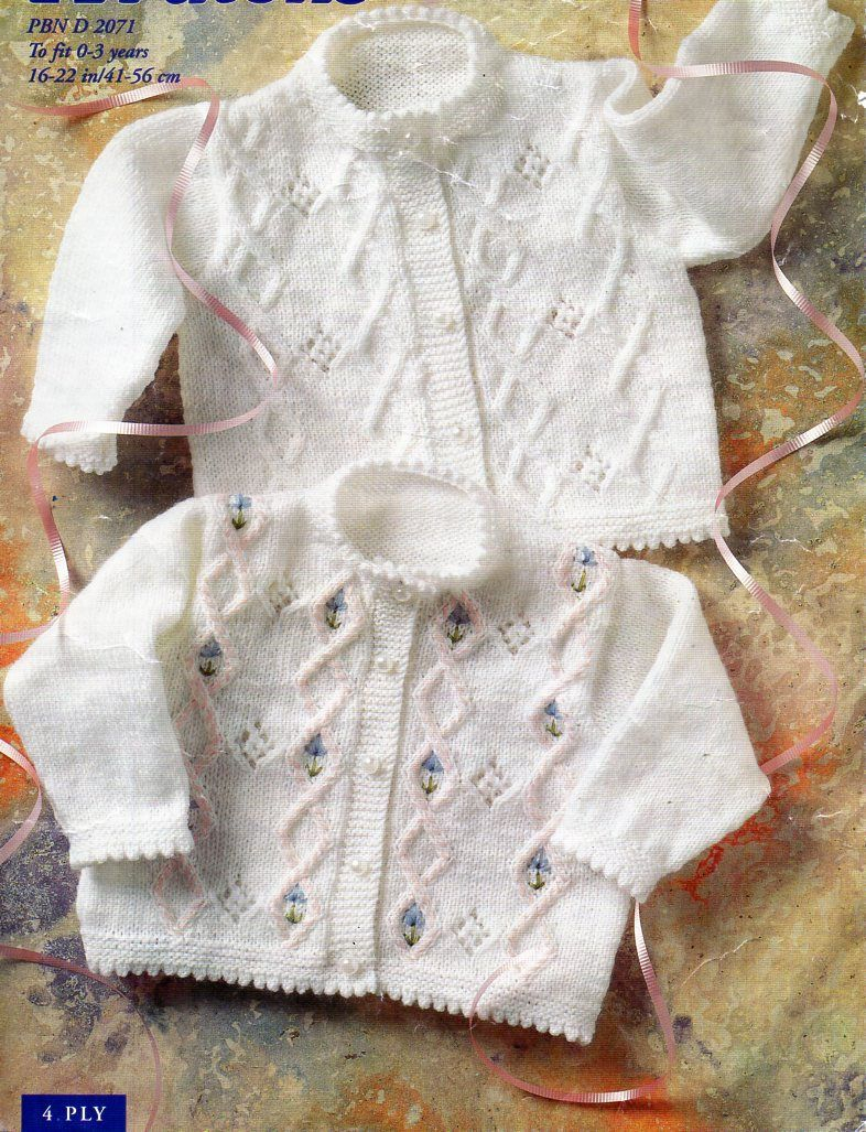 Baby Coat Knitting Pattern Ba Cardigan Knitting Pattern Embroidered Flowers Ply Patterns