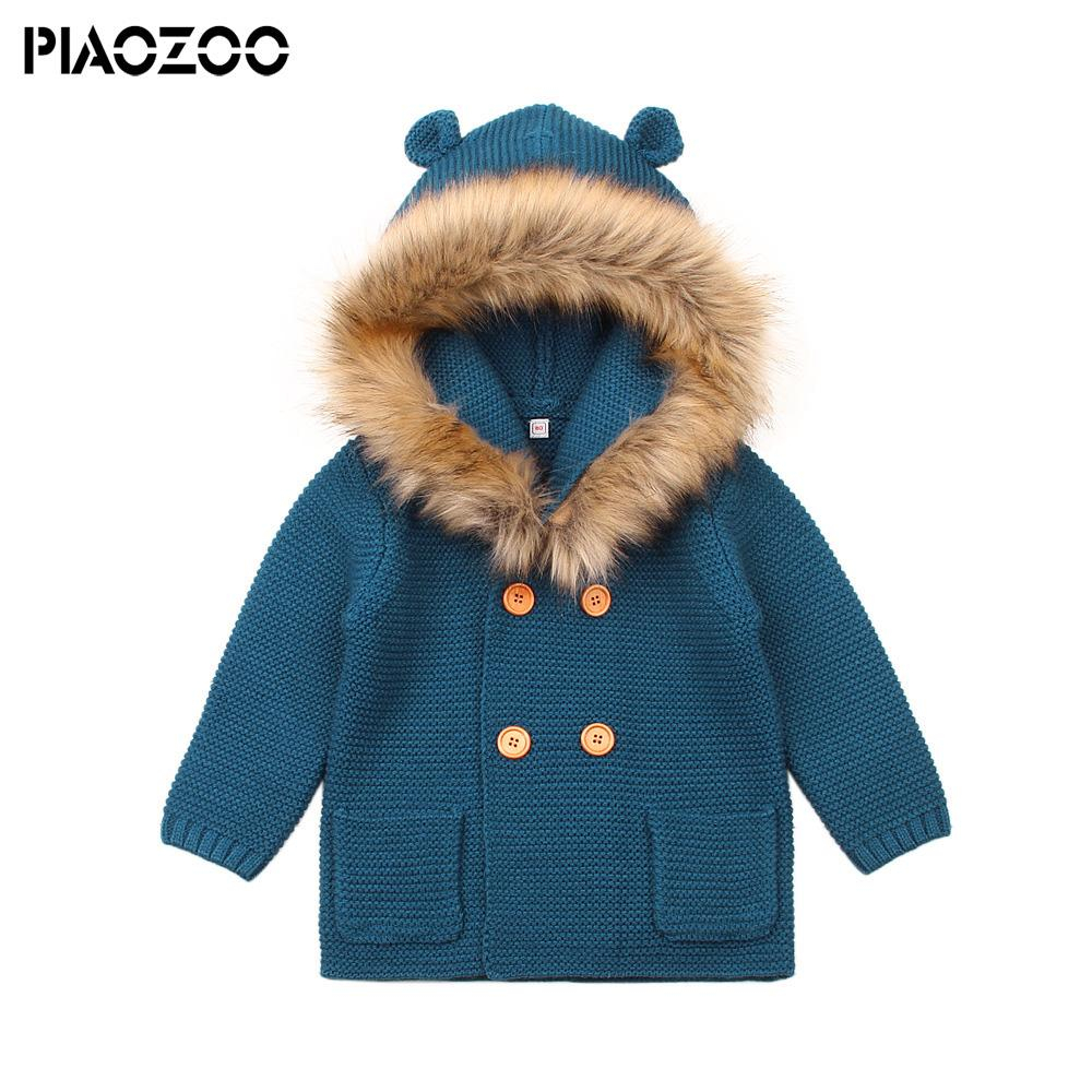 Baby Coat Knitting Pattern Ba Sweater Ba Girls Cardigan With Ears Newborn Infant Boys Knitted Fake Fur Hood Sweater Spring Kids Jacket Hooded Coat P20