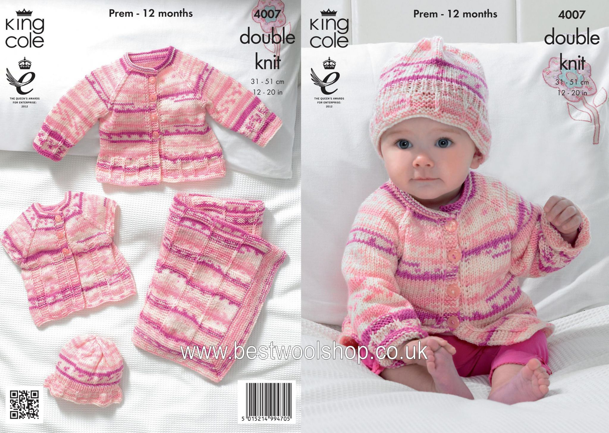Baby Girl Blanket Knitting Patterns 4007 King Cole Cherish Cherished Dk Cardigan Hat Blanket Knitting Pattern To Fit Premature To 12 Months