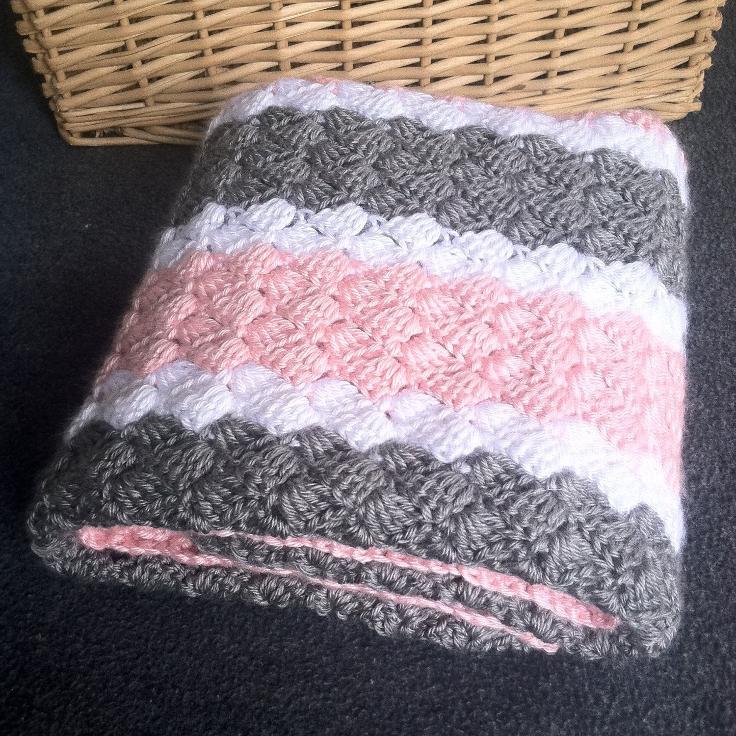 Baby Girl Blanket Knitting Patterns Crochet Girl Ba Blanket Hand Made Pink Grey And White Knitted Empoto