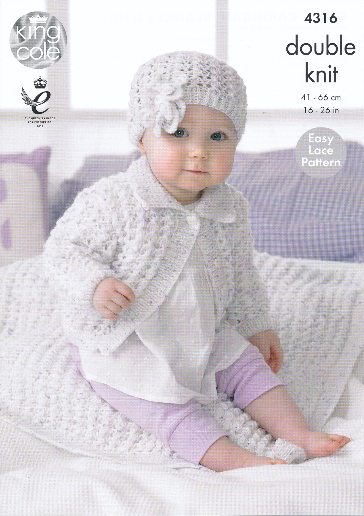 Baby Girl Blanket Knitting Patterns Details About Smarty Dk Knitting Pattern King Cole Ba Lace Cardigan Blanket Flower Hat 4316