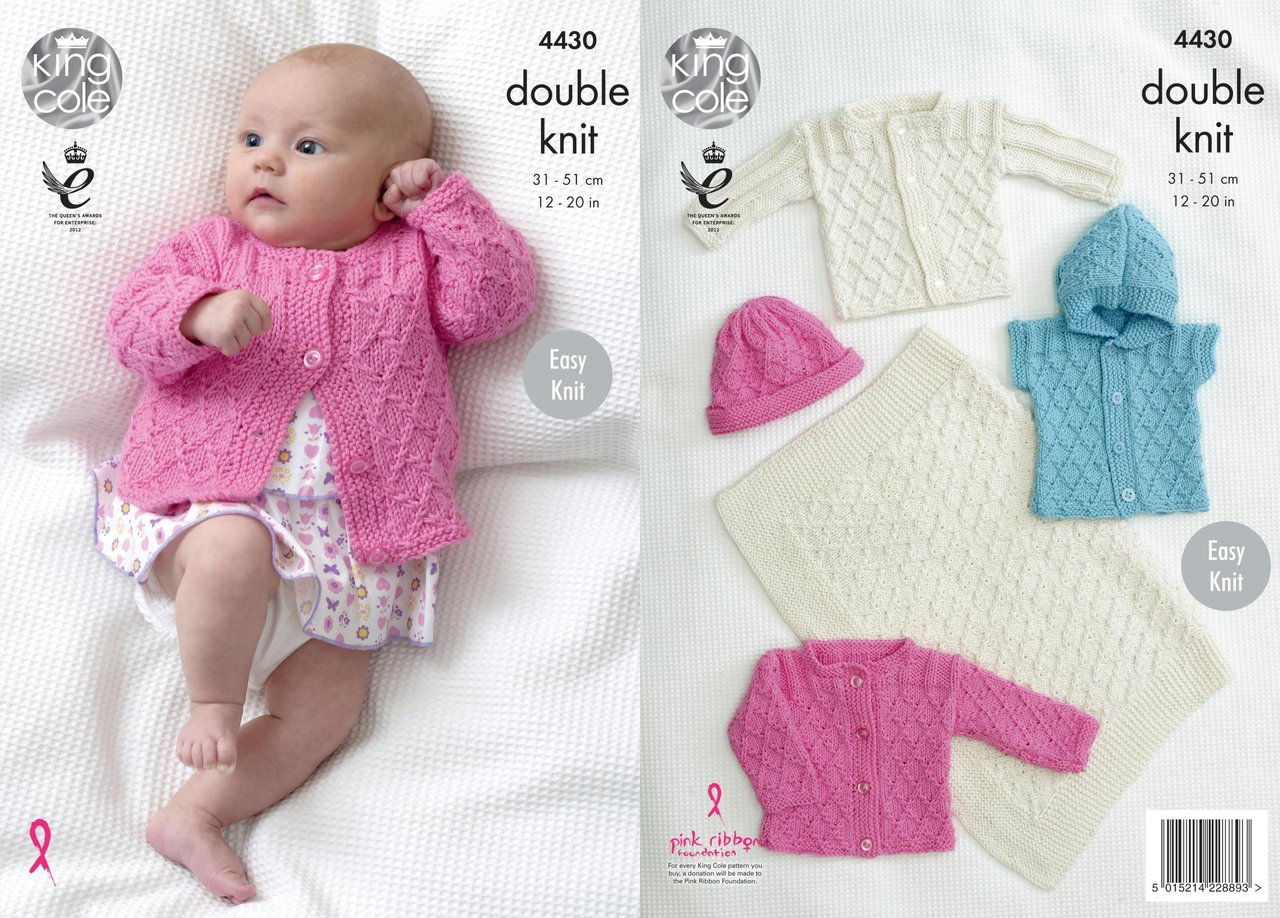 Baby Girl Blanket Knitting Patterns King Cole 4430 Knitting Pattern Easy Knit Ba Blanket Jackets Gilet And Hat In Cottonsoft Dk