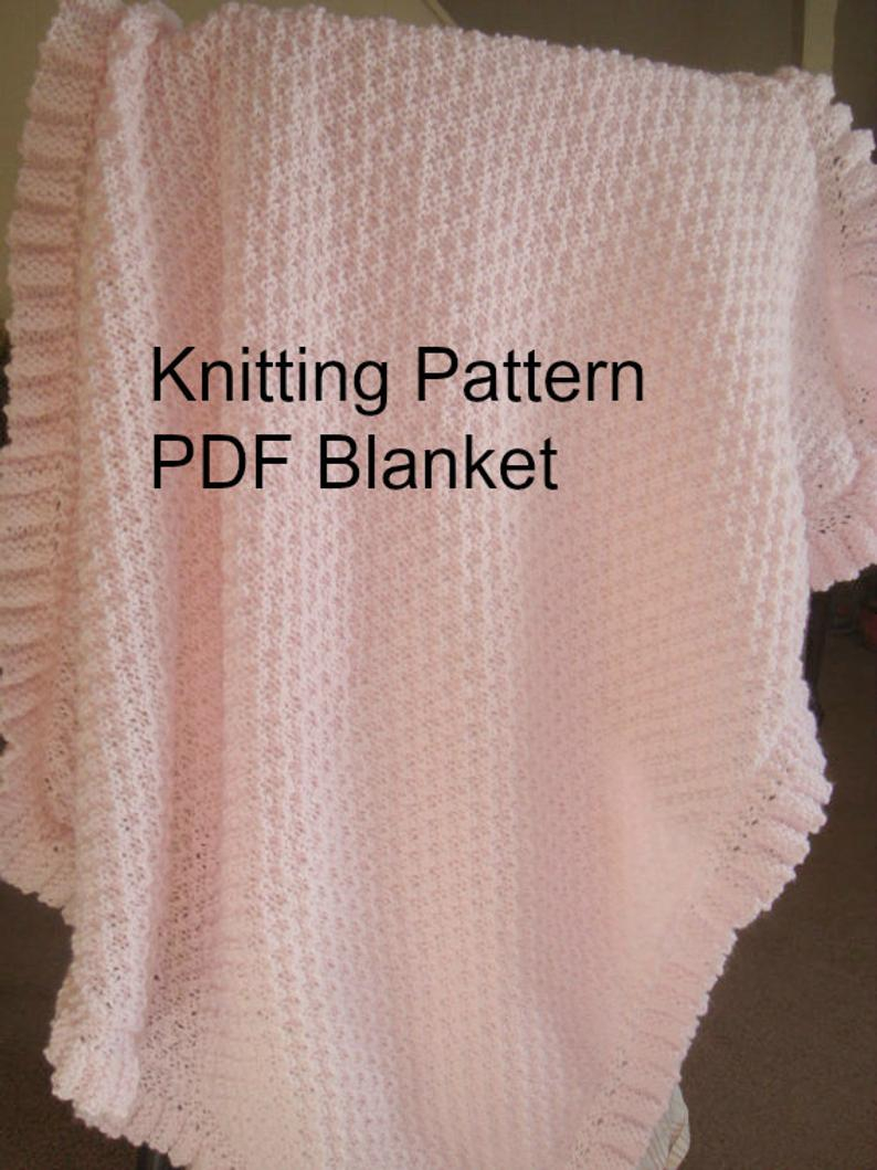 Baby Girl Blanket Knitting Patterns Knitting Pattern Ba Blanket With Ruffle Knit Pattern Pdf Pattern Diy Ba Shower Gift Knitting Pattern Ba Girl Blanketnewborn
