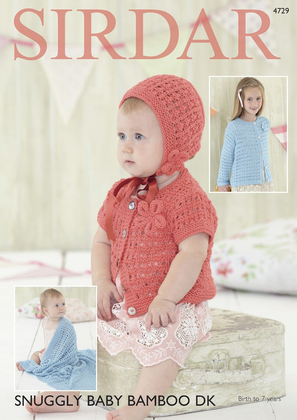 Baby Girl Blanket Knitting Patterns Sirdar Girls Cardigans Bonnet Blanket Knitting Pattern In Snuggly Ba Bamboo Dk 4729p Pdf