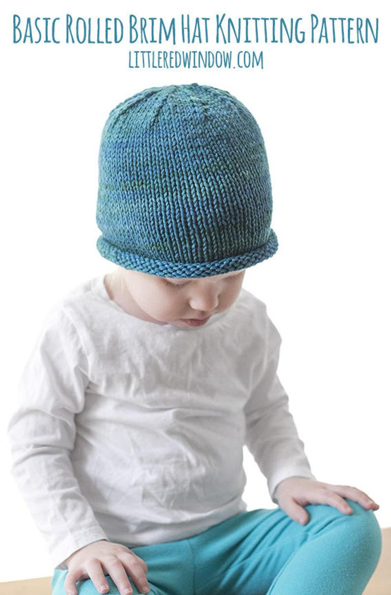 Baby Hat Patterns To Knit Easy Rolled Brim Ba Hat Knitting Pattern Brimmed Hat Pattern Easy Ba Hat Easy Beanie Pattern Ba Hat Pattern Knit Hat Pattern