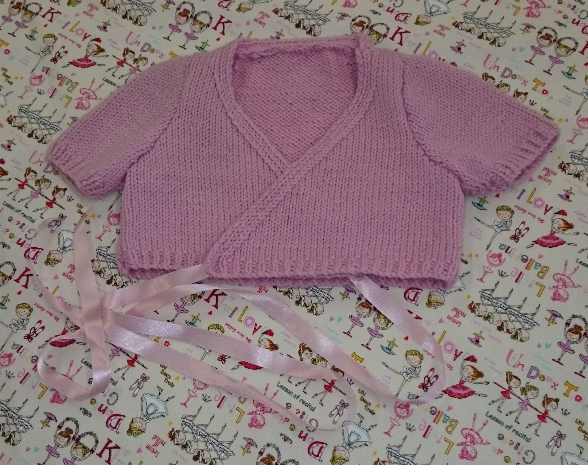 Ballet Cardigan Knitting Pattern Childs Crossover Ballet Style Cardigan Knitting Pattern
