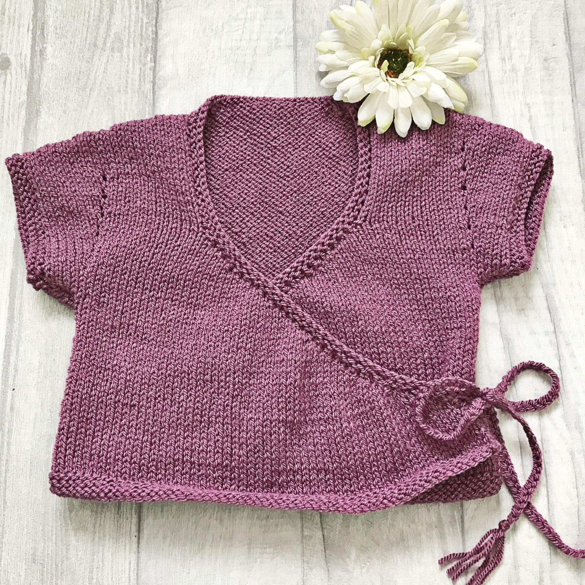 Ballet Cardigan Knitting Pattern Handmade Wrap Over Cardigan Hand Knitted With Button And Plaited Ties