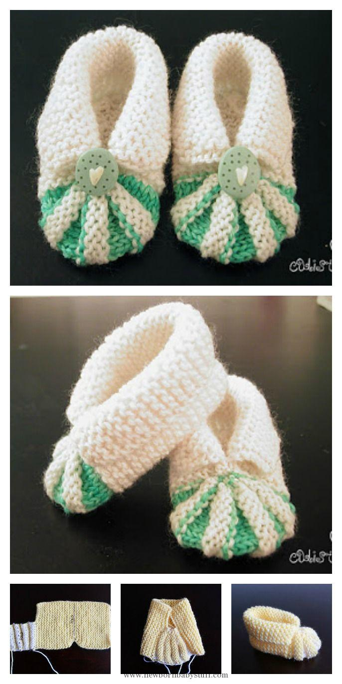 Basic Baby Booties Knitting Pattern Ba Knitting Patterns Knit Simple And Cute Ba Booties Free Pattern
