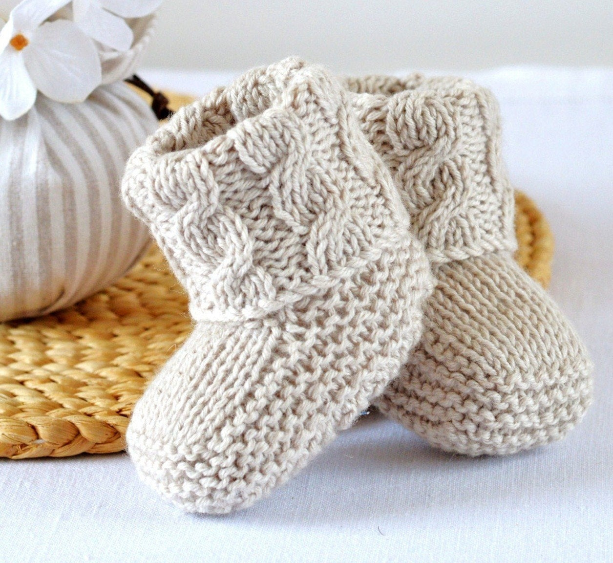Basic Baby Booties Knitting Pattern Easy Booties Knitting Pattern Ba Cable Booties Knitting Photo Tutorial Pdf Digital File