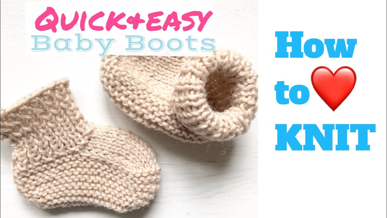 Basic Baby Booties Knitting Pattern Quick And Easy Ba Boots How To Knit Teomakes