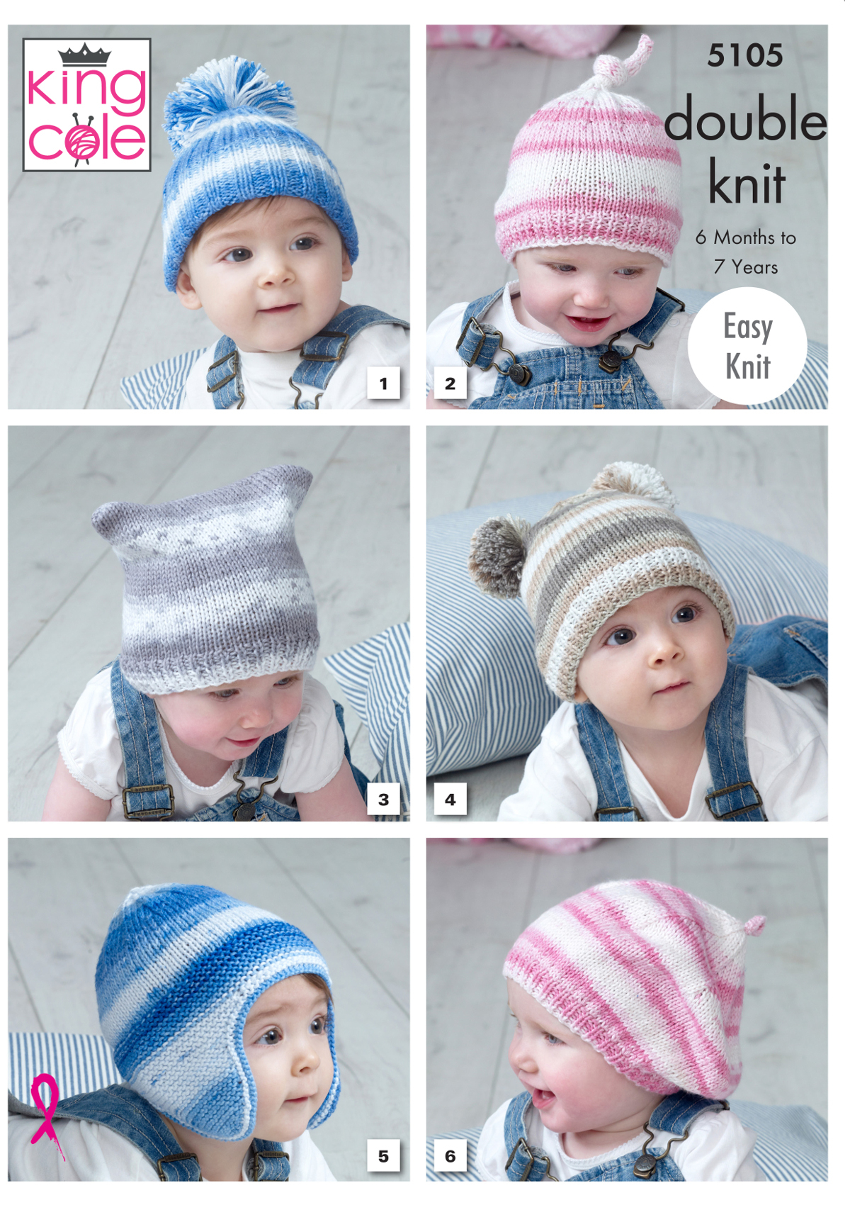 Beret Knitting Pattern Easy Details About Ba Double Knitting Pattern Easy Knit Hats Helmet Beret King Cole 5105