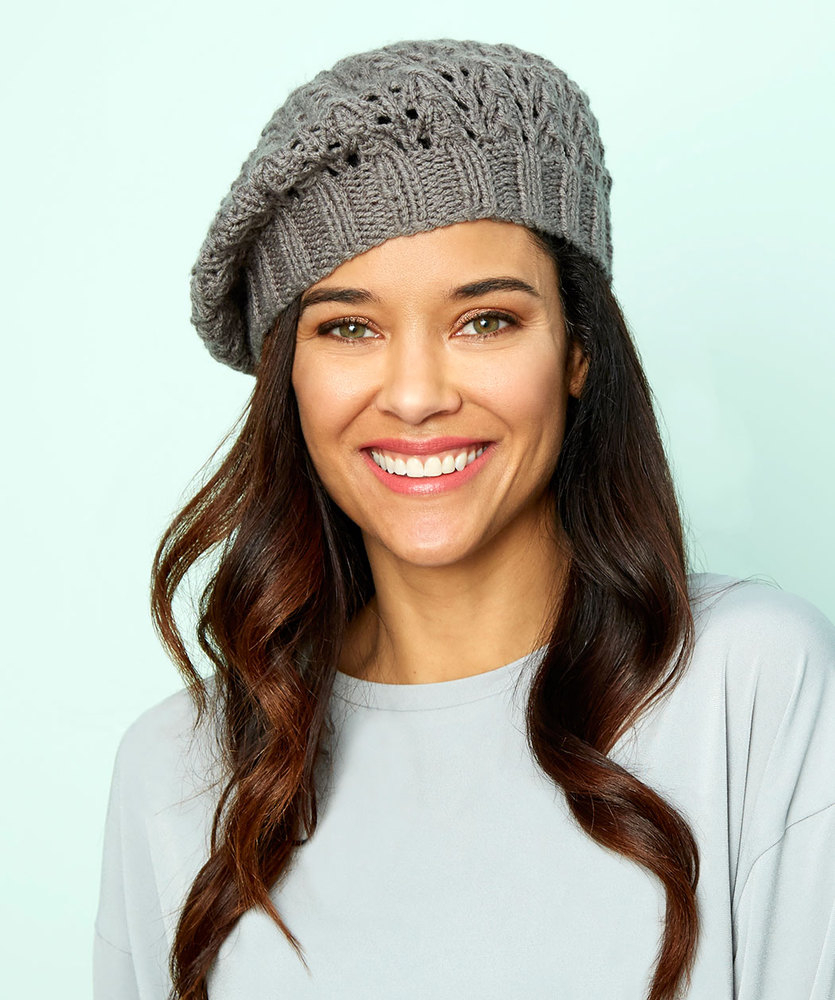 Beret Knitting Pattern Easy Lace Beret Red Heart