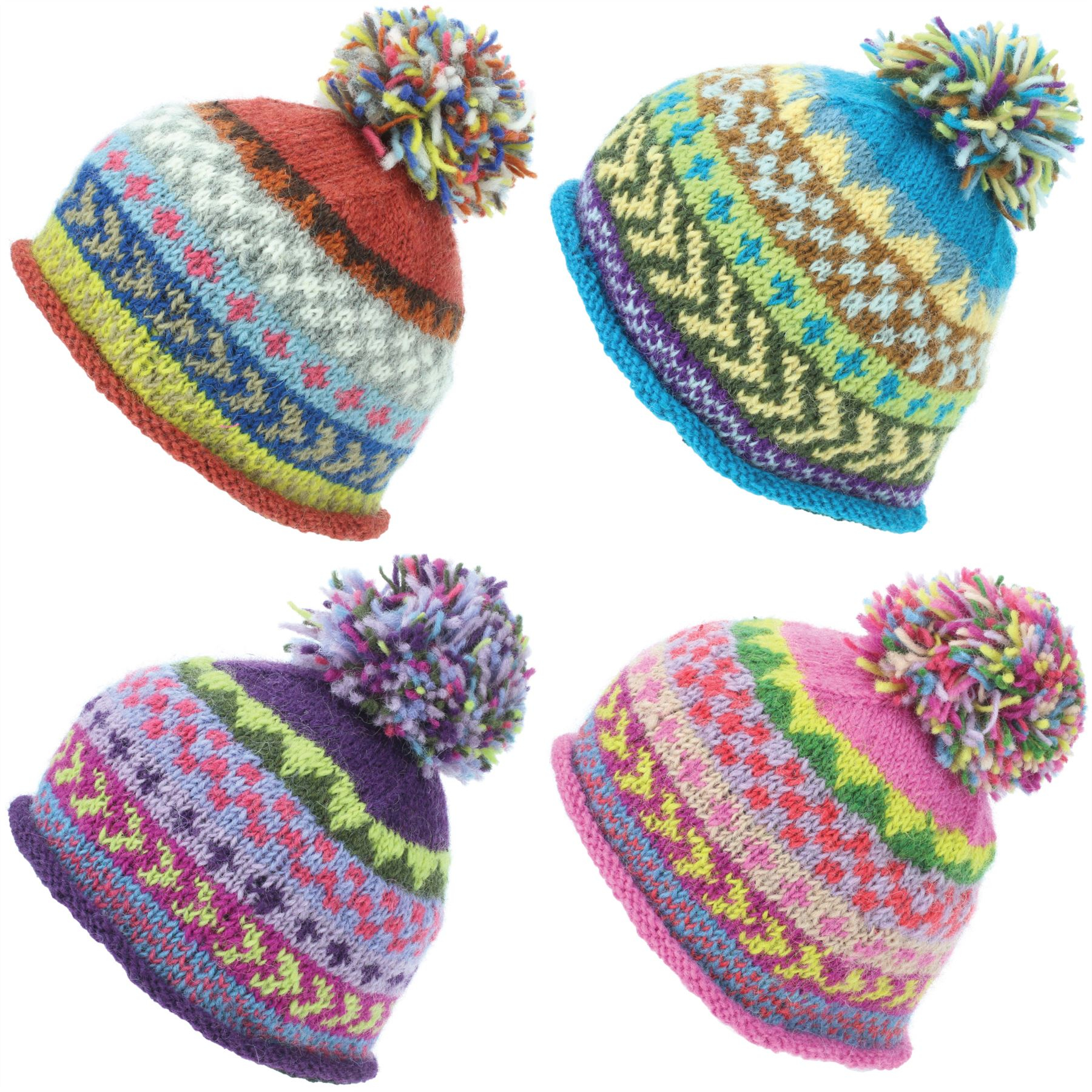 Bobble Hat Knitting Pattern Details About Beanie Hat Wool Cap Bobble Warm Winter Pattern Bright Loudelephant Lined Knit