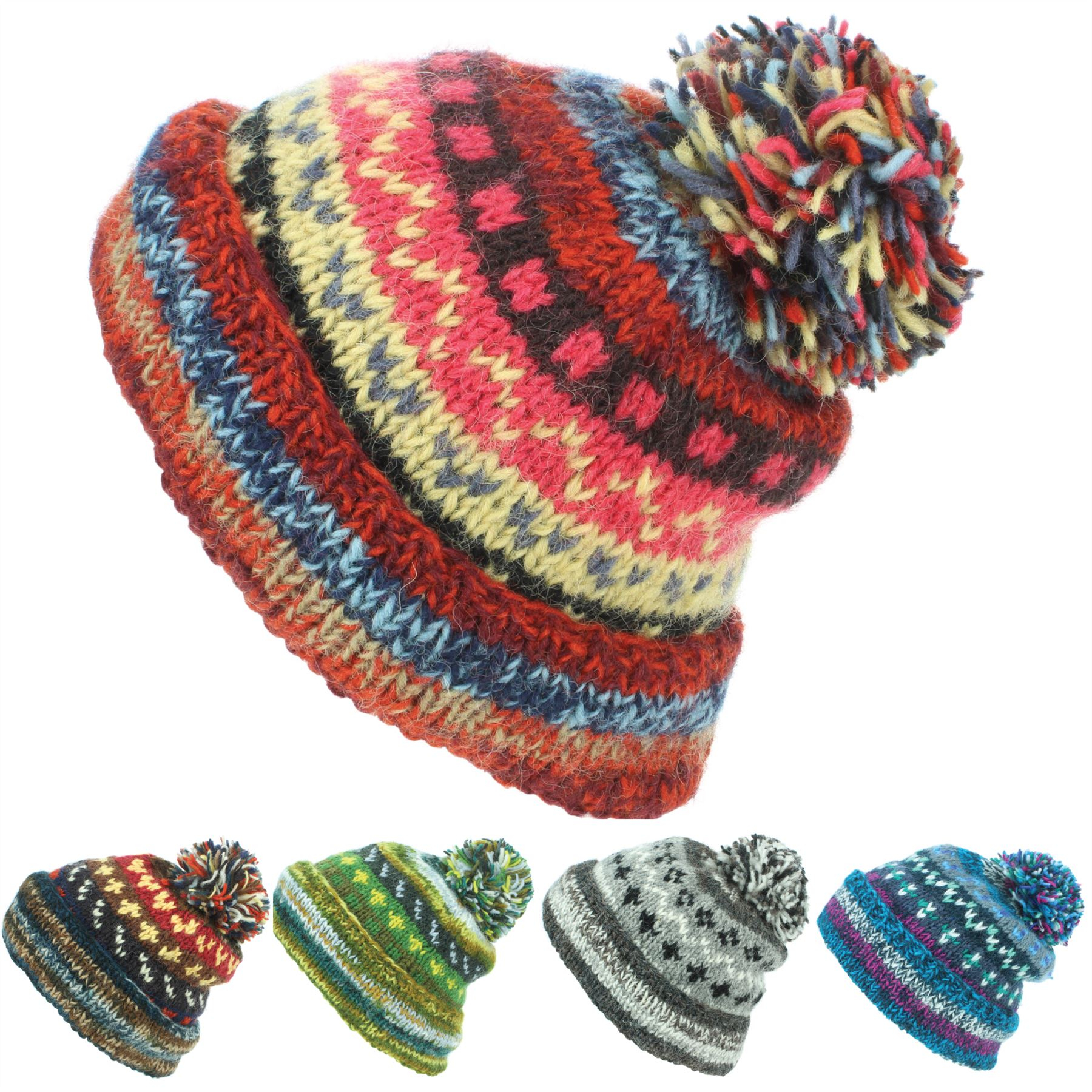 Bobble Hat Knitting Pattern Details About Chunky Wool Knit Beanie Bobble Hat Men Ladies Warm Winter Abstract Pattern Lined
