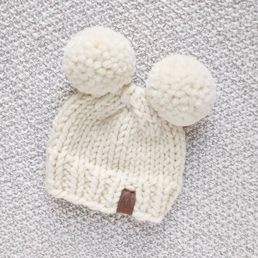 Bobble Hat Knitting Pattern Free How To Knit A Double Pom Pom Hat