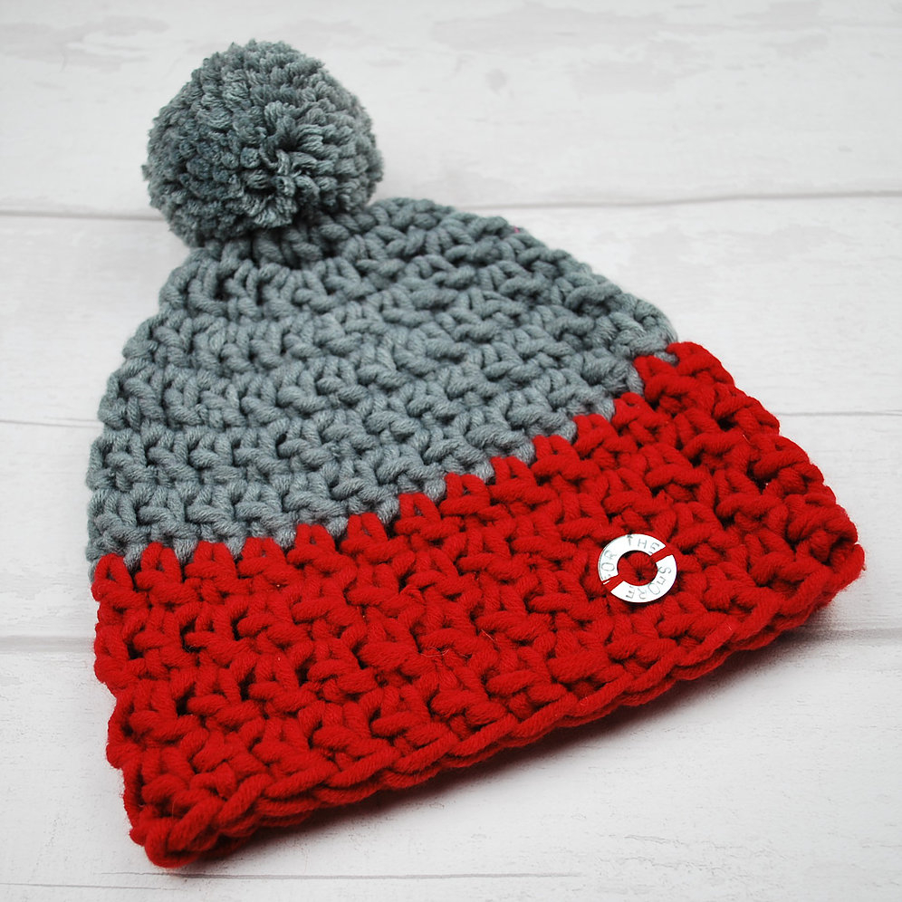 Bobble Hat Knitting Pattern Infant Grey And Red Duo Bobble Hat