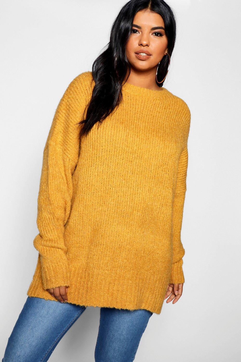 Boyfriend Jumper Knitting Pattern Boohoo Plus Oversized Knit Boyfriend Jumper In Yellow Lyst