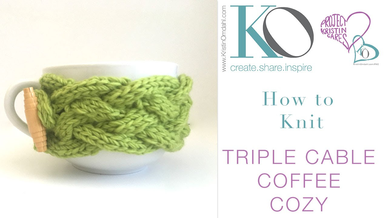 Cable Knit Coffee Cozy Pattern How To Knit Triple Cable Coffee Cozy