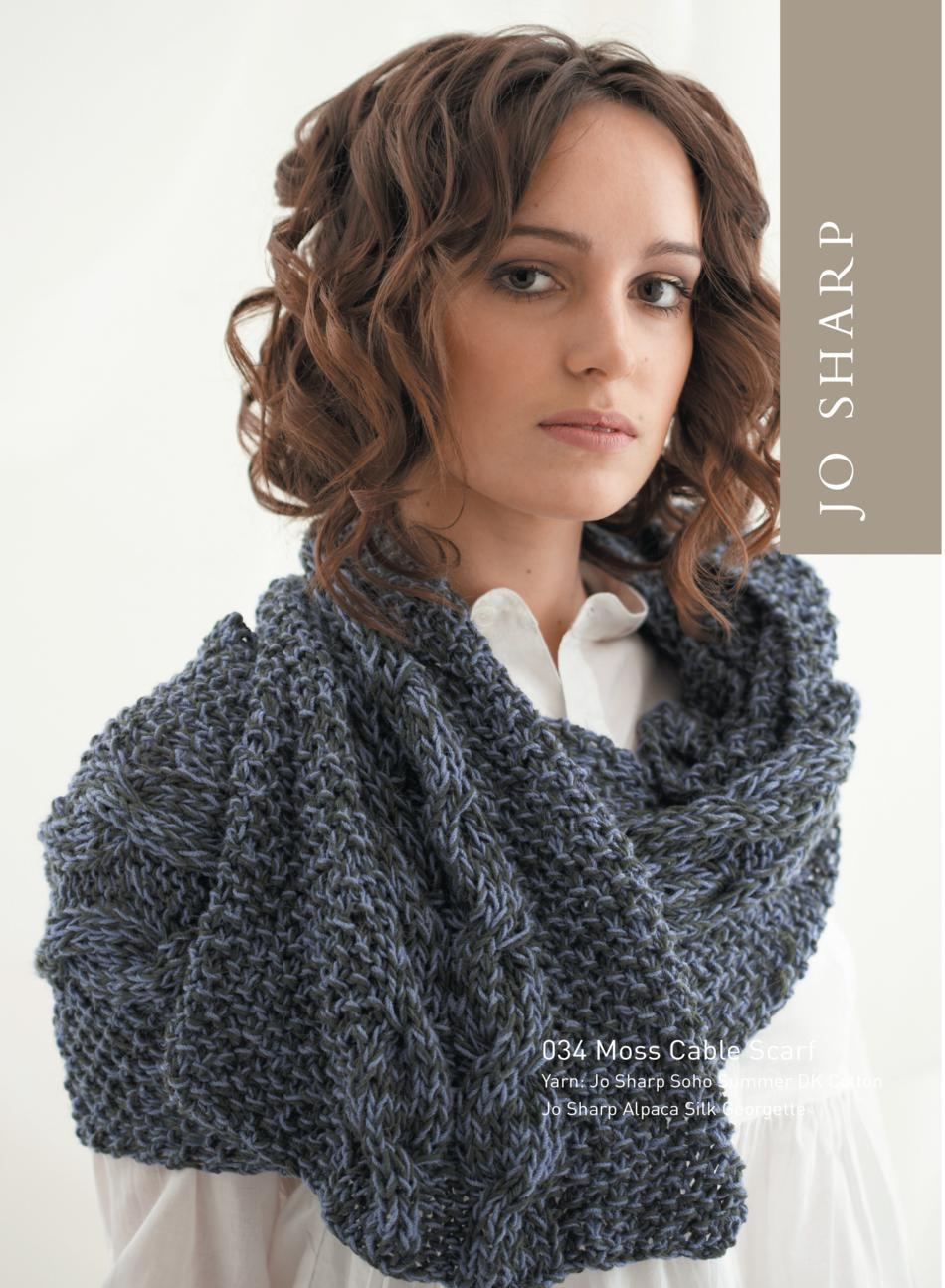 Cable Knitted Scarf Pattern Jo Sharp Moss Cabled Scarf Pattern Knitting Pattern