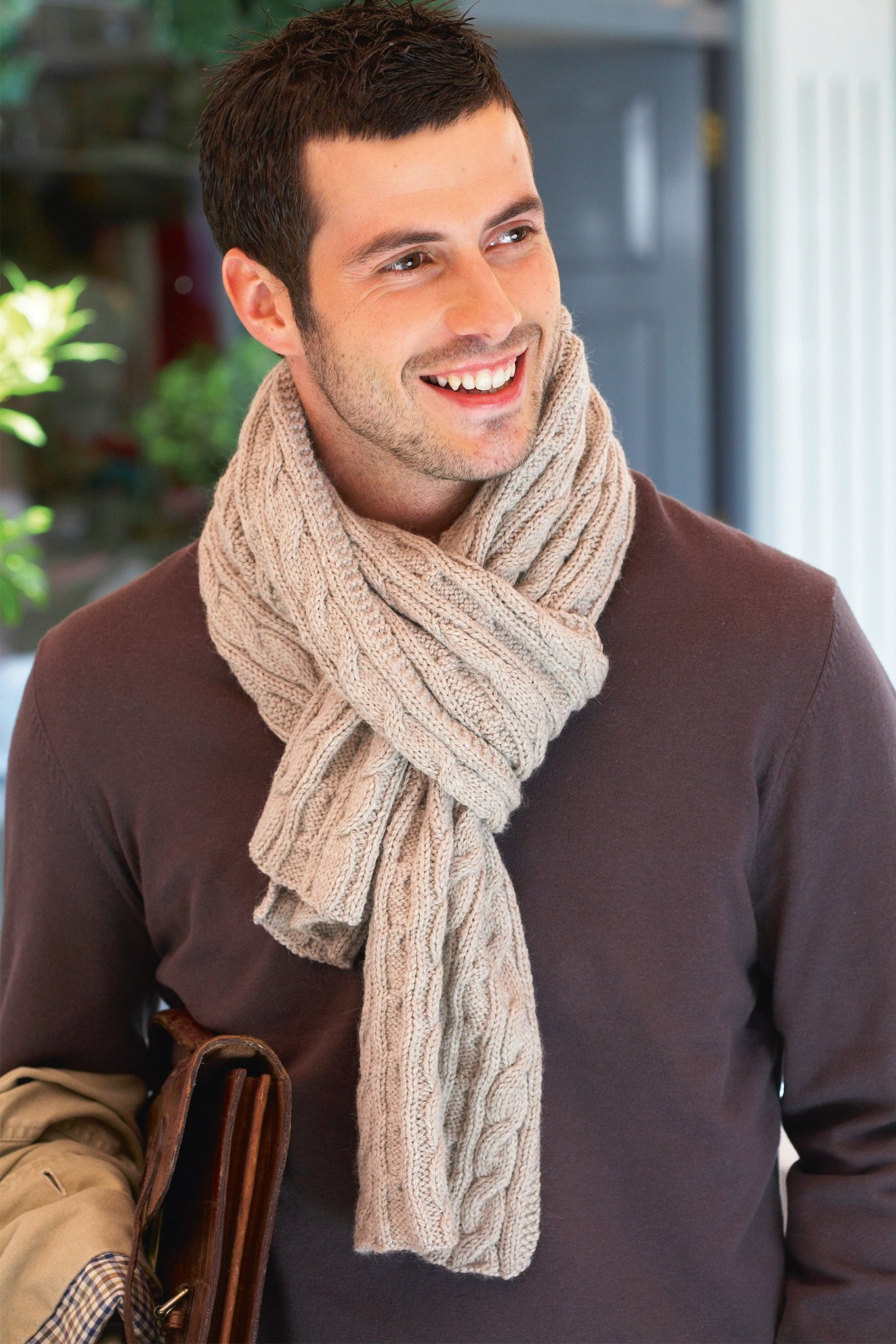 Cable Knitted Scarf Pattern Mens Cable Scarf Knitting Pattern