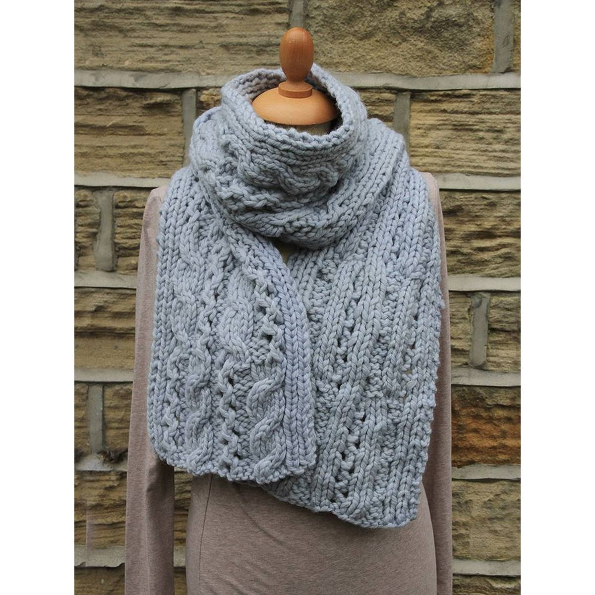 Cable Knitted Scarf Pattern Rowan Lace Cable Scarf Digital Pattern