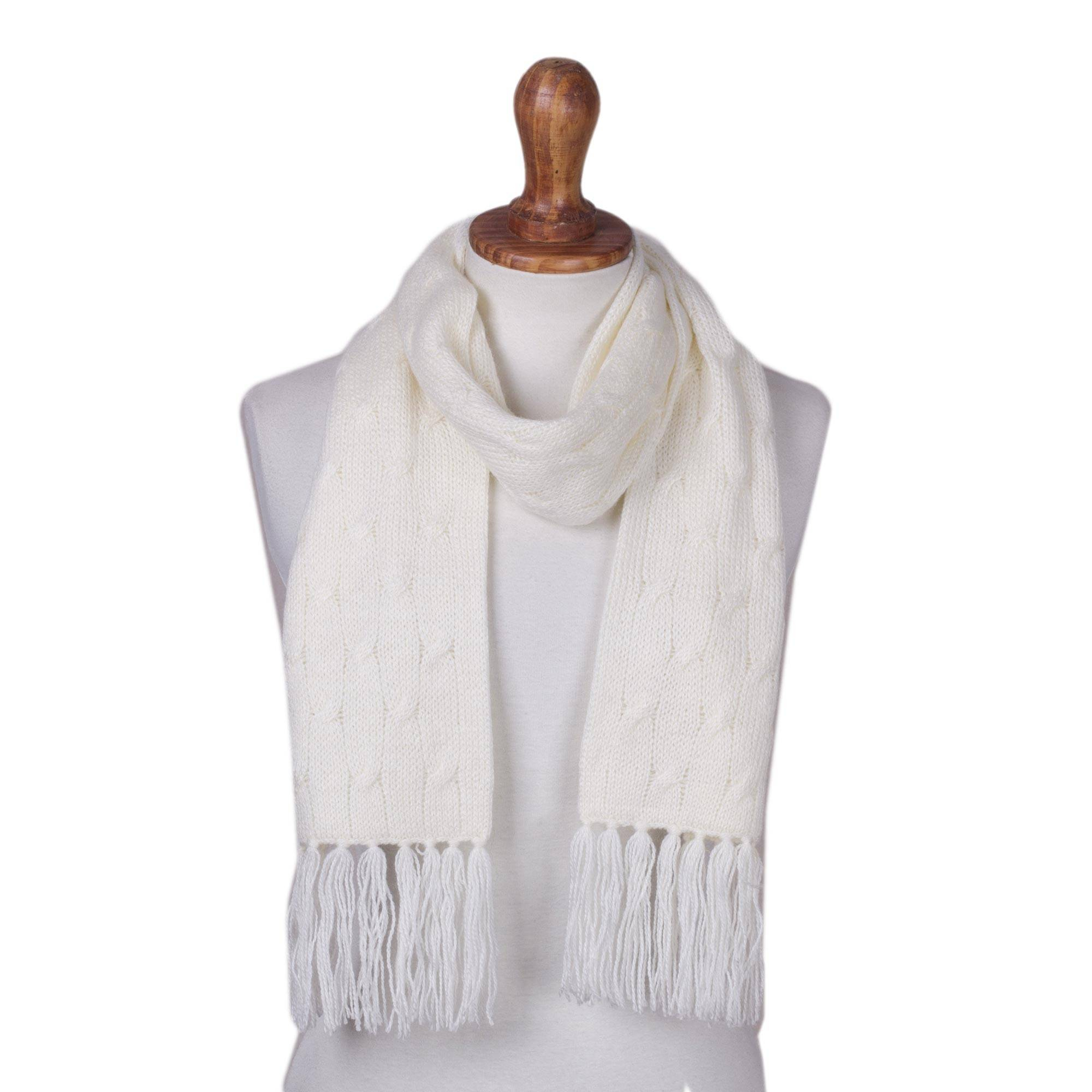 Cable Knitted Scarf Pattern White Unisex Acrylic Cable Knit Scarf From Peru Soft Winter White